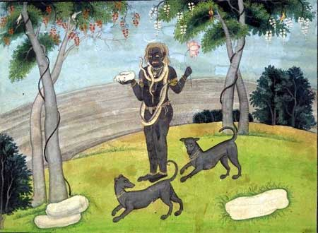 Siva as Bhairava with two dogs (1820) - Artist Unknown