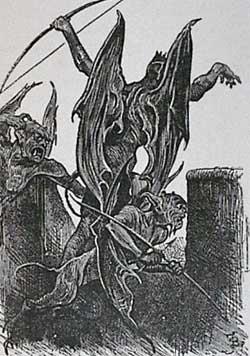 """Beelzebub and them that are with him shoot arrows."" - Illustration from Pilgrim's Progress - John Bunyan"