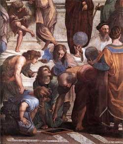 Zoroaster holds the celestial sphere - School of Athens - Raphael