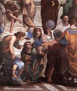 Zoroaster holds the celestial sphere - School of Athens - Raphael