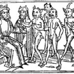 A woodcarving of Belial and some of his followers from Jacobus de Teramo's book en:Buch Belial (1473)