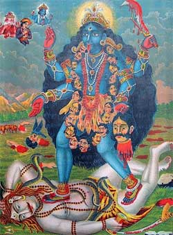 Kali stands on Shiva (1895) - Artist Unknown