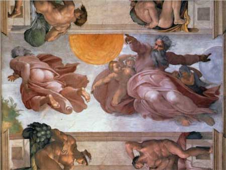 Sistine Chapel Ceiling: Creation of the Sun and Moon - Michelangelo