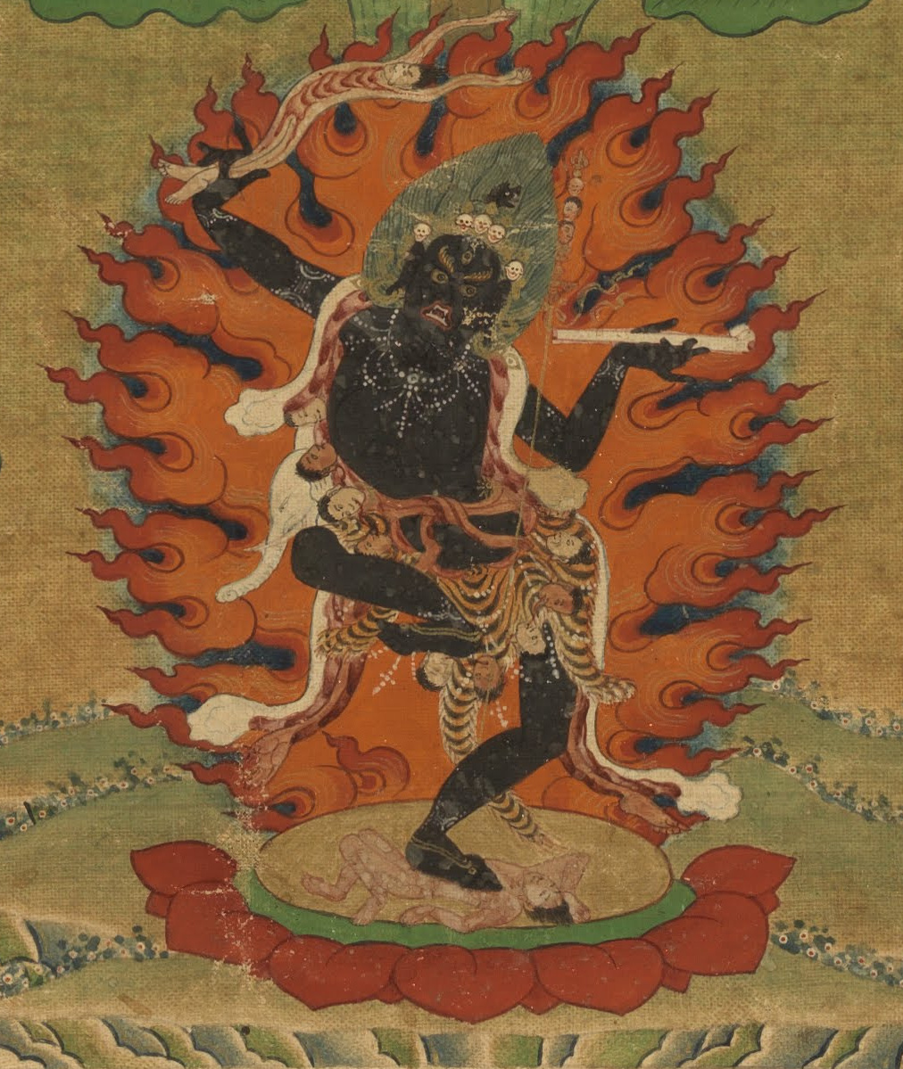 Tibetan Buddhist Kali. Closeup from a painting of Machig Labdron , 19th century. (Source Wiki Commons Media)