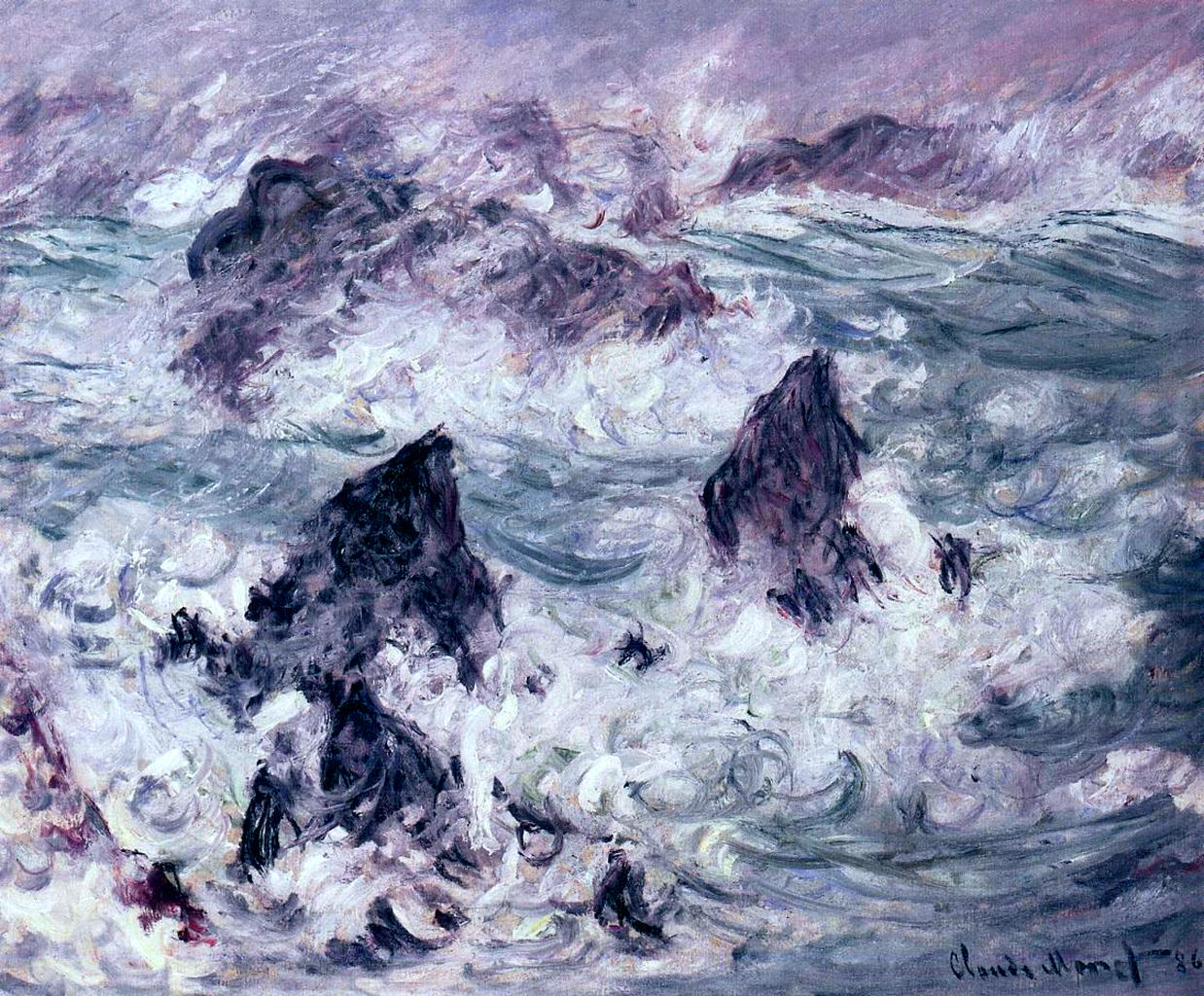 Storm at Belle-Ile by Claude Monet (1886)